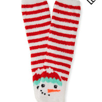LLD Fuzzy Striped Snowman Crew Socks