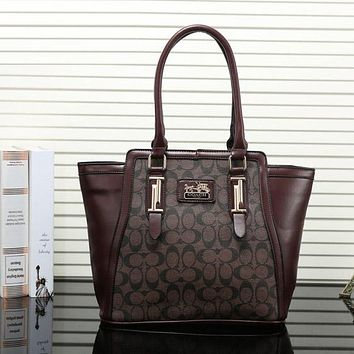 COACH Women Shopping Leather Tote Handbag Shoulder Bag Crossbody