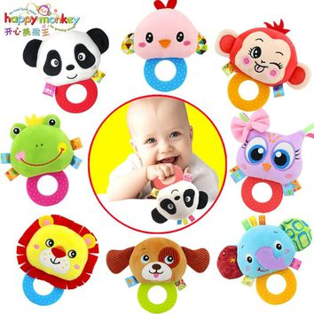 Baby Toy 0-12 Month Infant Soft Plush Animal Teeth Teether Towel Hand Grip Rattle Mobile Educational Doll For Newborn Babies Kid