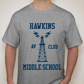 Stranger Things Inspired Hawkins Middle School AV Club Tshirt