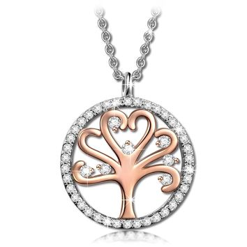 """Tree of Life"" 925 Sterling Silver / Rose Gold Plated Copper Charm Pendant Women's Necklace with AAA Cubic Zirconia Gemstones Fashion Jewelry - with Luxury Jewel Box Gift Packing - Authentic 925 Sterling Silver Guaranteed, SGS International Authoritative"