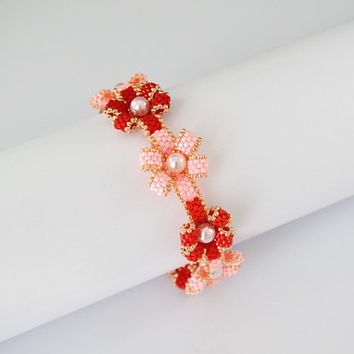 Free Shipping Flowers Swarovski - Bracelets Beads Pearls, gift for her