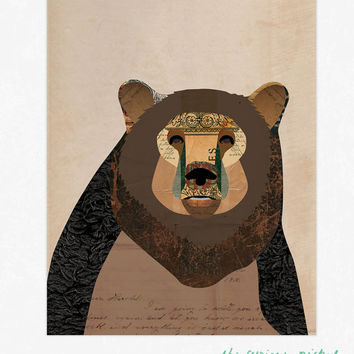 Bear Print - Rustic Bear Collage Illustration Art Print - Framable Wall Art
