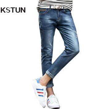 KSTUN Jeans For Men Summer Ankle Stretch Slim Fit Skinny Leather Pockets Design Blue Ripped Male Denim Biker Jeans Casual Homme