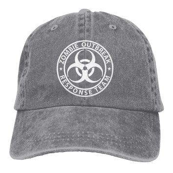 Zombie Outbreak Response Team Vintage Washed Dyed Cotton Adjustable Plain Cowboy Cap