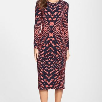 Women's Maggy London Tie Dye Print Crepe Midi Sheath Dress