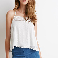 Embroidered Crepe Crisscross Cami