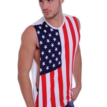 Men's USA Proud American United States Flag Open Side Tank T-Shirt