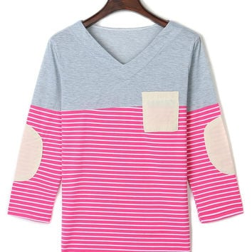 V-Neck Stripe Panel Patch Sleeve Tee