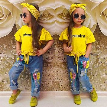 New Summer style Kids Clothing Sets Short sleeve Top Hole jeans Hair band 3pcs set