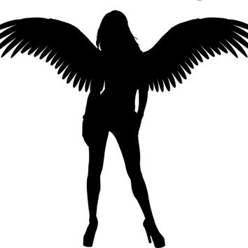 pinup girl Angel Woman silhouette clipart png clip art Digital Image Download art printables to make Pillows Totes Towels t-shirts CARDS ETC