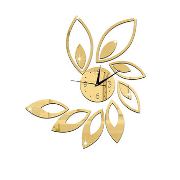 2016 New Arrival Hot Sale Fashion Wall Clock Black/Silver/Gold/Black+Red Big Flower Quartz Acrylic Wall Clock Model