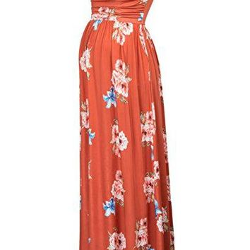 GRACE KARIN Maternity Womens Floral Strapless Gown Dress with Pockets