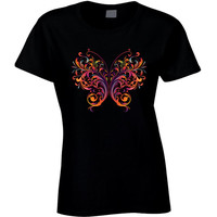 butterfly t-shirt / colorful butterfly shirt / butterfly on tshirt / butterfly tee / shirt with butterfly / butterfly ladies tee / black tee