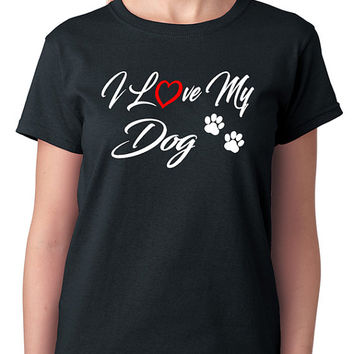 I Love My Dog T-Shirt with Paw Prints & Red Heart
