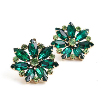 Vintage Emerald Green Rhinestone Clip On Earrings - Gold Tone Glass Flower Costume Jewelry / Round Dark & Lime Green