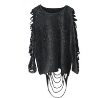 Black Unisex Goth Top with Slashed Sleeves