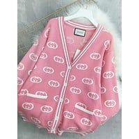 GUCCI New fashion more letter long sleeve coat cardigan women Pink