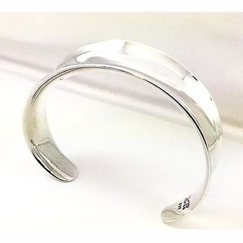 Wide Cuff Bracelet Polished Sterling Silver