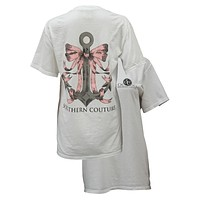 SALE Southern Couture Preppy Anchor Bow Comfort Colors White Girlie  Bright T Shirt