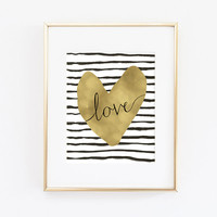 Printable art - love quote - instant download - printable art print - watercolor stripes gold foil heart - love home decor - love wall art