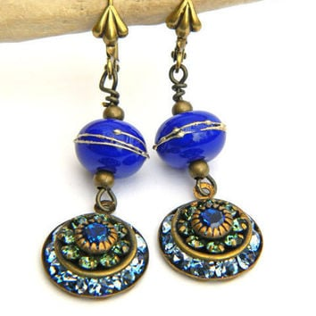 Blue Earrings, Lampwork Earrings, Rhinestone Earrings, Handmade Earrings, Beaded Earrings, Handcrafted Jewelry, Unique Earrings, Artisan