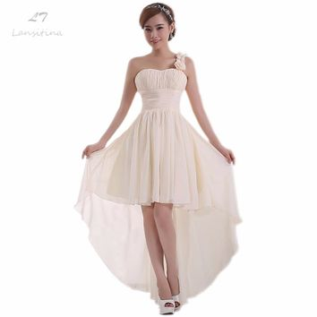 LANSITINA Chiffon High/Low Bridesmaid Dress Cheap A-Line Pleat Lace-up Back Party Prom Dresses Junior Bridesmaid Dresses