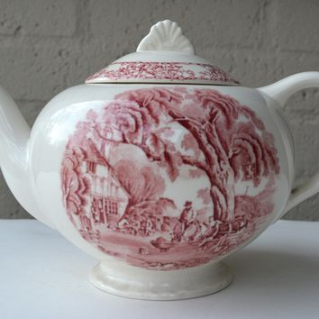 Vintage Red Transferware Teapot English Rural Scenes / Pastoral Davenport Horse Cottage