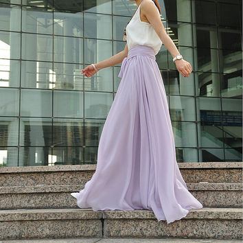 High Waist Maxi Skirt Chiffon Silk Skirts Beautiful Bow Tie Elastic Waist Summer Skirt Floor Length Long Skirt (037), #052