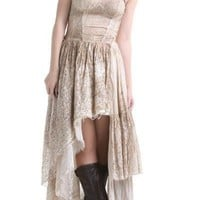 Steampunk Asymmetric Hem Lace Dress Khaki