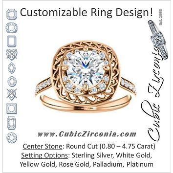 Cubic Zirconia Engagement Ring- The Ariané Contessa (Customizable Cathedral-style Round Cut featuring Cluster Accented Filigree Setting & Pavé Band)