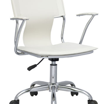 Chrome/White Office Swivel Arm Chair with Pneumatic Gas Lift
