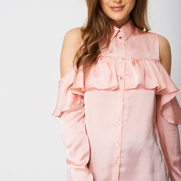 Cold Shoulder Satin Shirt Ex-Branded