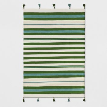 Teal Green Striped Tasseled Woven Rug - Opalhouse™
