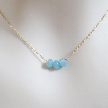 Cotton candy, Sky blue, Gold, Silver, Necklace, Summer, Aqua, Rondell, Necklace, Lovers, Best friends, Sister, Gift, Accessory, Jewelry