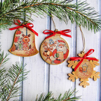 "Vintage Christmas Ornaments "" Christmas singers"" / Christmas Decoration / Decoupage Tree Decorations/ Christmas Gift /  Christmas Toy"