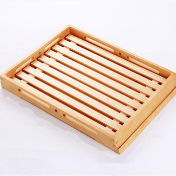 Eco-Friendly Wooden Serving Tray Natural Color Wood Cake Plate Bread Board Baking Store Display Plate Coffee/Tea Trays