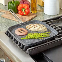 Durable Nonstick Aluminum Stainless Steel Heavy Duty Rock Oven Safe Griddle Pan
