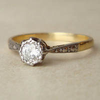 Antique Diamond Engagement Ring, 18k Gold Art Deco Diamond Solitaire Wedding Ring Approx. Size US 4