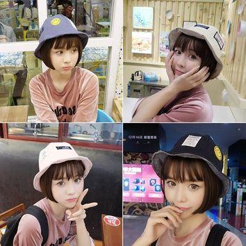 Korean Ulzzang Smile Face Bucket Hats For Women Summer Autumn Letter Patch Smile Embroidery Plaid Fishing Cap Women's Hat
