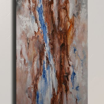 Original Textured Abstract Painting on Canvas  Contemporary Abstract  Modern Art  Wall Hanging blue brown wall decor home decor
