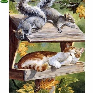 5D Diamond Painting Squirrels and a Cat Kit