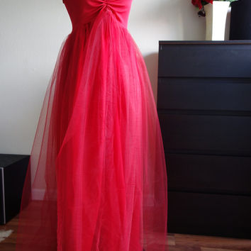 Christmas / Valentine Tiffany gown/Tulle maternity Gown, Tulle dress, Tulle prom dress, Tulle long dress