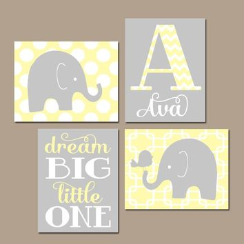 GIRL ELEPHANT Nursery Wall Art, YELLOW Gray Nursery Decor, Baby Girl Wall Decor, Dream Big Little One, Canvas or Prints, Set of 4 Wall Decor