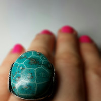 Teal Coral Fossil Ring, Dark Sterling Silver, Handmade Jewelry, Any Size, Unique