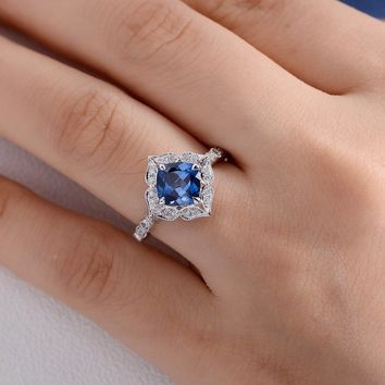 Engagement Ring Unique Lab Sapphire Art Deco Wedding Women Bridal Unique Cushion Cut White Gold Diamond Halo Anniversary Gift Birthstone