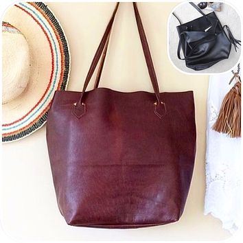 Large Leather Tote, Carry All