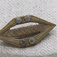 """Vintage Early 1900's Brooch, Brass, with Rhinestones, C-Clasp, 1.25"""""""