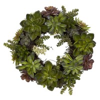"20"" Faux Succulent Wreath"