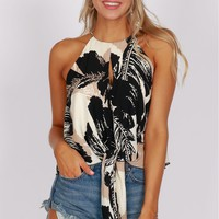 High Neck Peek-A-Boo Tie Tank Black